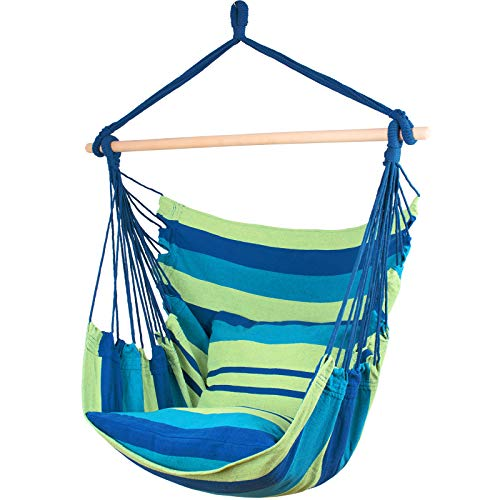 Ankwell Hammock Chair Hanging Rope Swing Seat - 2 Cushions Included - Max 330 Lbs - Quality Cotton Weave for Indoor or Outdoor Spaces (Green-Blue)