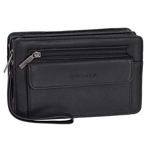 Ledershop24 Geschenkset - Business Herren Handgelenktasche Herrentasche Tasche Leder Farbe Schwarz