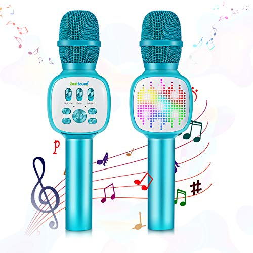 Kindermikrofon, ZealSound Bluetooth Wireless Karaoke-Mikrofon mit LED-Beleuchtung, Voice Changer Magic Sound Karaoke-Gerät, Home Party-Lautsprecher für iPhone/Android/iPad/PC, Smartphone (blau)