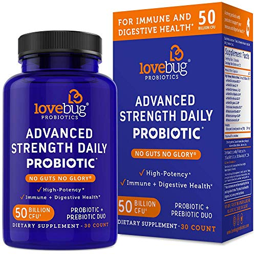 LoveBug Probiotics Advanced Strength Daily Digestive Health Probiotic for Men & Women, 50 Billion CFU & 10 Strains, Includes Prebiotic Fiber, 30 Delayed Release Capsules, Vegan & Non-GMO