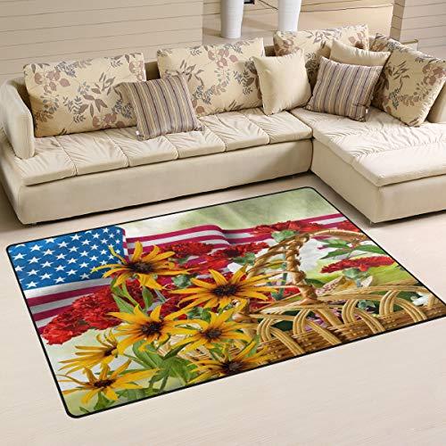 iRoad Teppiche für Wohnzimmer, amerikanische Flagge, Mohnblume, langlebig, fusselfrei, für Kinderzimmer, Schlafzimmer, moderne Teppiche, 78 x 50 cm, multi, 60x39 in