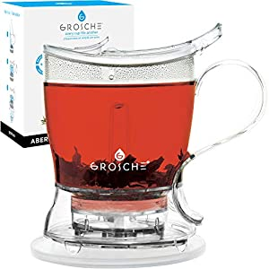 GROSCHE Aberdeen Perfect Tea maker - Teapot Set with Coaster, Tea Steeper / Teapot / Tea Infuser, 34 fl. oz - 1 liter, Easy Clean Steeper, BPA-Free.