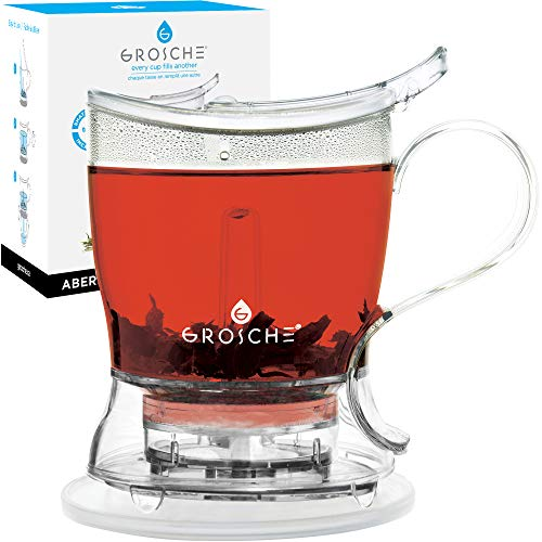 GROSCHE Aberdeen PERFECT TEA MAKER set with coaster Tea Steeper Teapot Tea Infuser 177 oz 525 ml EASY CLEAN Steeper BPAFree NO DRIPS