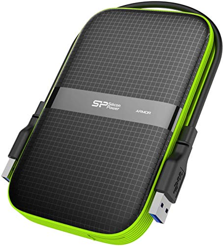 Silicon Power SP010TBPHDA60S3K 1 TB Rugged Armor A60 Shockproof Water-Resistant 2.5-Inch USB 3.0 External Portable Hard Drive, Military Grade MIL-STD-810G and IPX4, Black