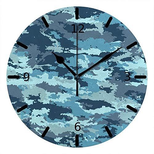 NIUMM Orologio da Parete Marina Militare Mimetica Blu Silenziosa A Batteria per Ufficio E Casa