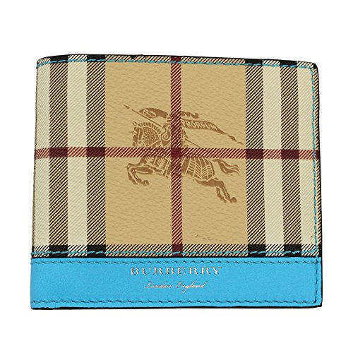 Burberry portafoglio uomo pelle bifold originale Reg blu