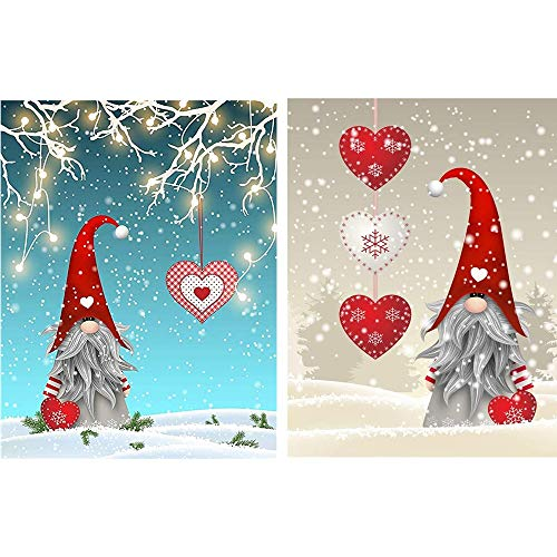2 Pack 5D Full Drill Christmas Santa Claus Diamond Painting Kit, DIY Christmas Hat Diamond Painting Kits for Adults and Beginner Diamond Arts Craft Decor, 15.8 X 11.8 Inch