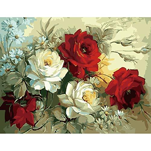 ABEUTY - Pintura de bricolaje por números para adultos principiante – flores de peonía roja y blanca, 40,6 x 50,8 cm con número de pintura antiestrés juguetes (sin marco)