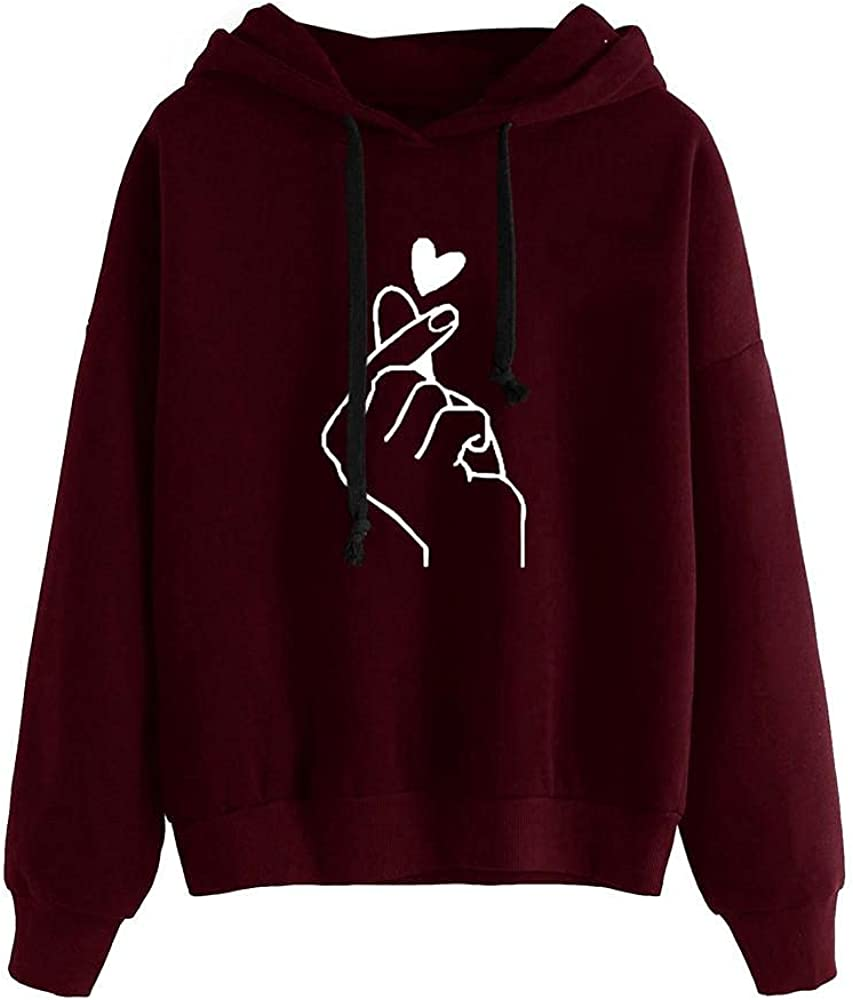 Haheyrte Hoodies for Womens Long Sleeve Heart Printed Jumper Hooded Blouse Casual Sweatshirts Pullover Tops Shirts