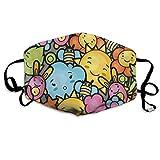 Máscara a Prueba de Viento, Lindos Personajes de Dibujos Animados Happy Sun Bunnies Árboles Bichos Nubes Abejas Kawai Art Design, Impresiones Decoraciones faciales
