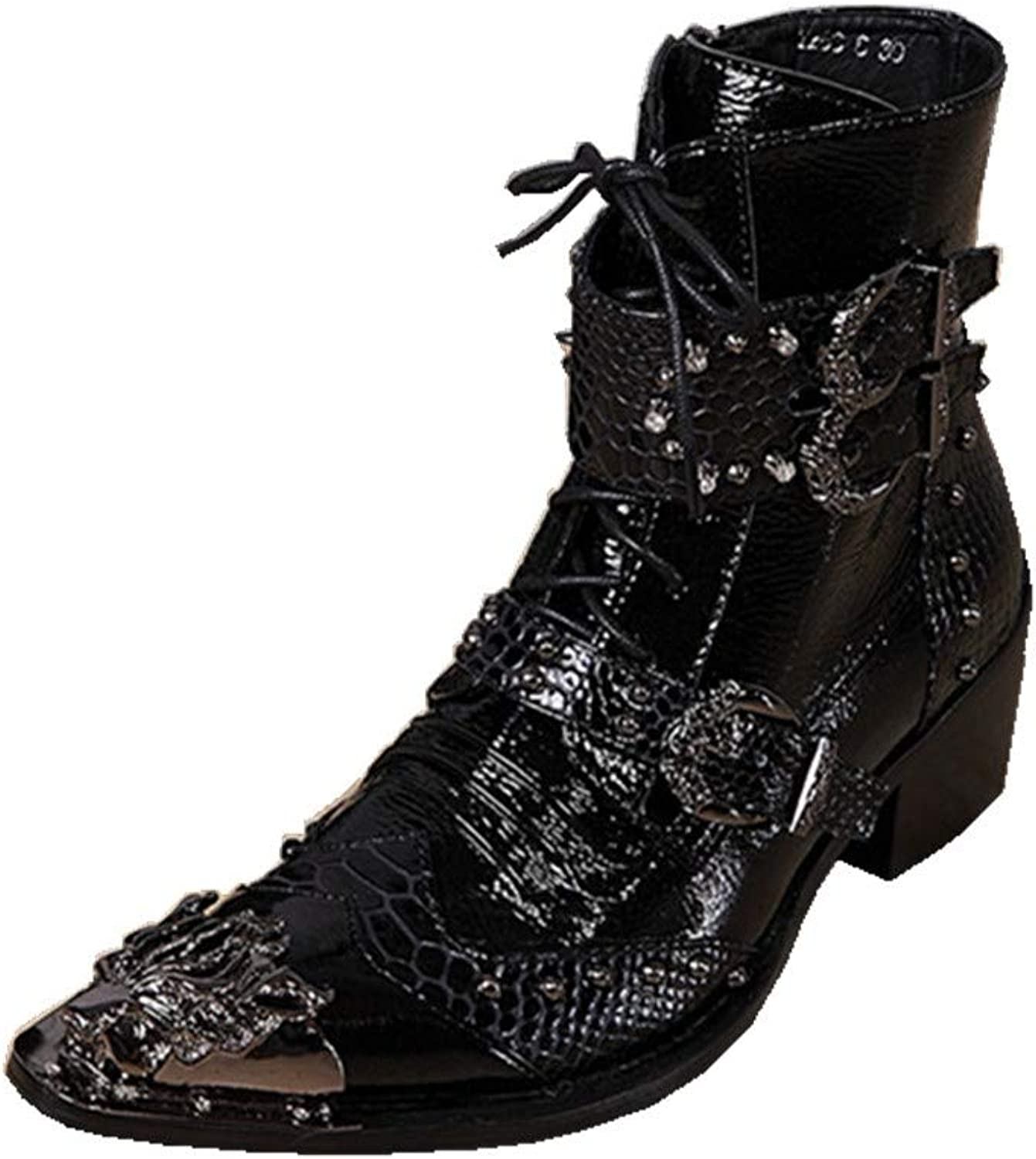 Men's Western Cowboy Ankle Boots Leather Black Lace up Buckle Pointed Metal Toe shoes Formal Wedding Evening Party