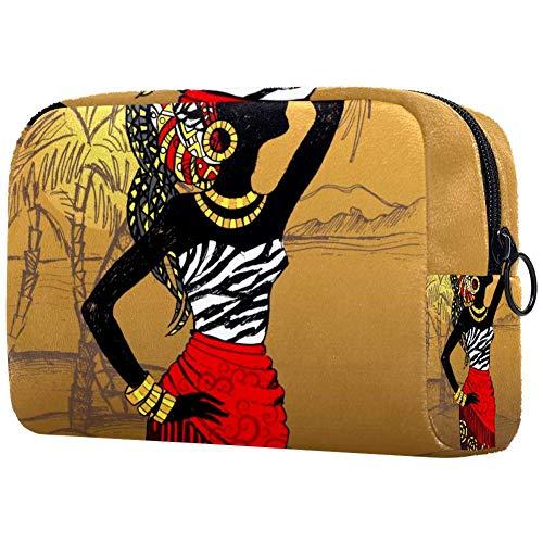 Beau sac de maquillage portable imprimé pour femme Noir