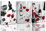 Romantic 3 Panels Canvas Wall Art-Champagne Red Wine Rose Macaron Wall Painting Pictures Artwork Poster Black White Wall Decor Framed Prints for Kitchen Dining Bar Home 12'x16'