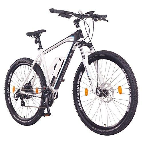 """NCM Prague Bicicleta eléctrica de montaña, 250W, Batería 36V 13Ah 468Wh (Blanco 29"""")"""