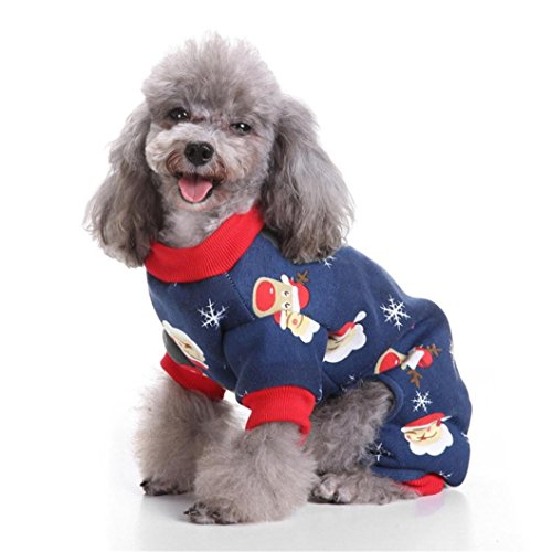 IEason Pet Clothes, 2017Cool and Cute The Christmas Clothing Pet Cat Dog Costume (M, Navy)