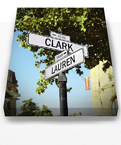 MuralMax Personalized City Street Sign - Custom Anniversary Date & Family Names Canvas Wall Decor - Art Gifts For Couples, Retirement & Office Parties - Color # 17 Sizes - 30x24