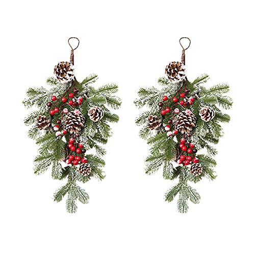 GWOKWAI 2Pcs Artificial Christmas Teardrop Swag, 21.7In Mixed Pine and Berry Christmas Swag for Front Door Decor Holiday Wall Window Hanging Ornaments