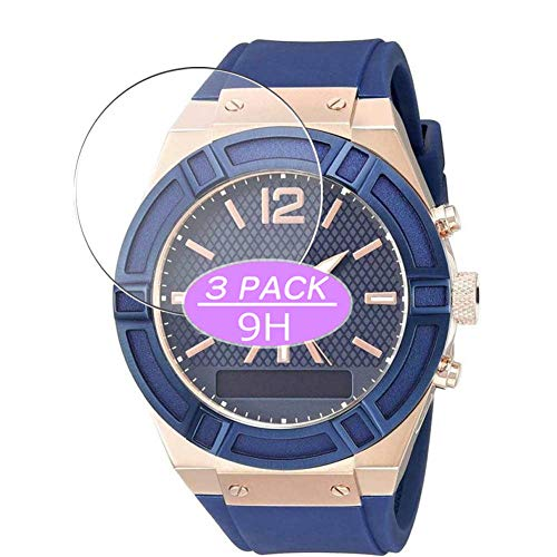 VacFun 3 Piezas Vidrio Templado Protector de Pantalla, compatible con Guess Connect Smartwatch 45mm Hybrid Watch, 9H Cristal Screen Protector Protectora Reloj Inteligente NEW Version