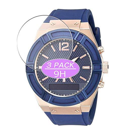 VacFun 3 Piezas Vidrio Templado Protector de Pantalla, compatible con Guess Connect Smartwatch 45mm Hybrid Watch, 9H Cristal Screen Protector Protectora Reloj Inteligente