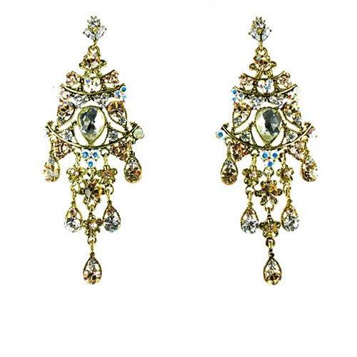Melocotón y cristales transparente chapado en oro larga Juego de pendientes de diseño de lámpara de araña