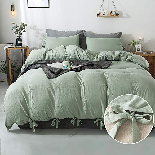 Annadaif Green Duvet Cover Queen(90x90 Inch),3 Pieces Soft Washed Cotton Duvet Cover Set, Easy Care Bedding Set for Men, Women