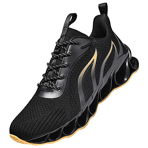 Mens Walking,Running Shoes,Sneakers,Fashion Tennis Sport Fitness Cross Trainers,Black_Yellow_45