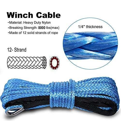 "Yoursme Nylon Synthetic Winch Cable Rope with Sheath for SUV ATV UTV Winches Truck Boat Ramsey Car 1/4"" x 50'-8000LB+ Blue"