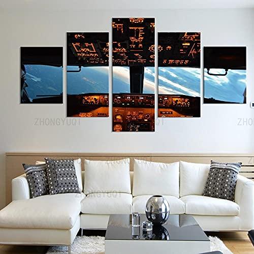 yuanjun 5 Juegos De Pinturas Impresión HD Pintura De Arte De Pared Pintura Moderna Pintura De Decoración del Hogarimpresión De Lienzo XXL Imagen De La Cabina del Avión