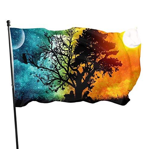 GOSMAO Bandera de Jardín Doble Costura Resistentes a la Decoloración UV Banner de Bandera Decorativo Exterior Fiesta Mardi Gras para Patio Césped Árbol Yin Yang 150X90cm