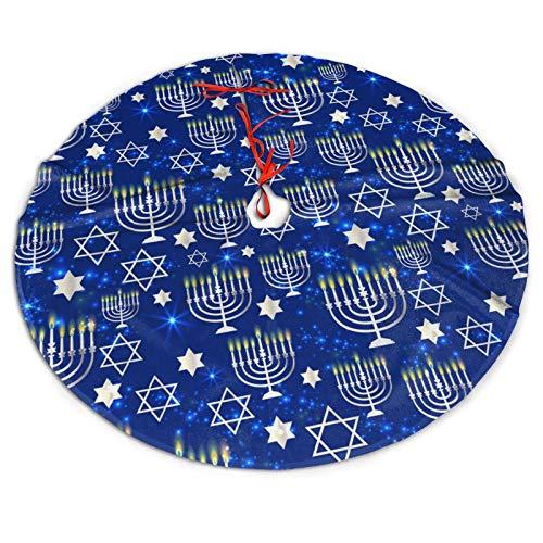 SDSQII Christmas Tree Skirt 36' Happy-Hanukkah Shining Pattern,Tree Mat Decor for Indoor Outdoor Home Ornaments Festive Holiday Decoration