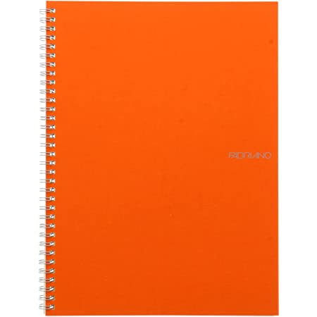 Fabriano EcoQua Notebook, Large, Spiral-Bound, Blank, 70 Sheets, Orange