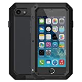 iPhone 6/6S Case,Mangix Built-in Glass Luxury Aluminum Alloy Protective Metal Extreme Shockproof Military Bumper Finger Scanner Cover Shell Case Skin Protector for Apple iPhone 6/6S 4.7inch (Black)