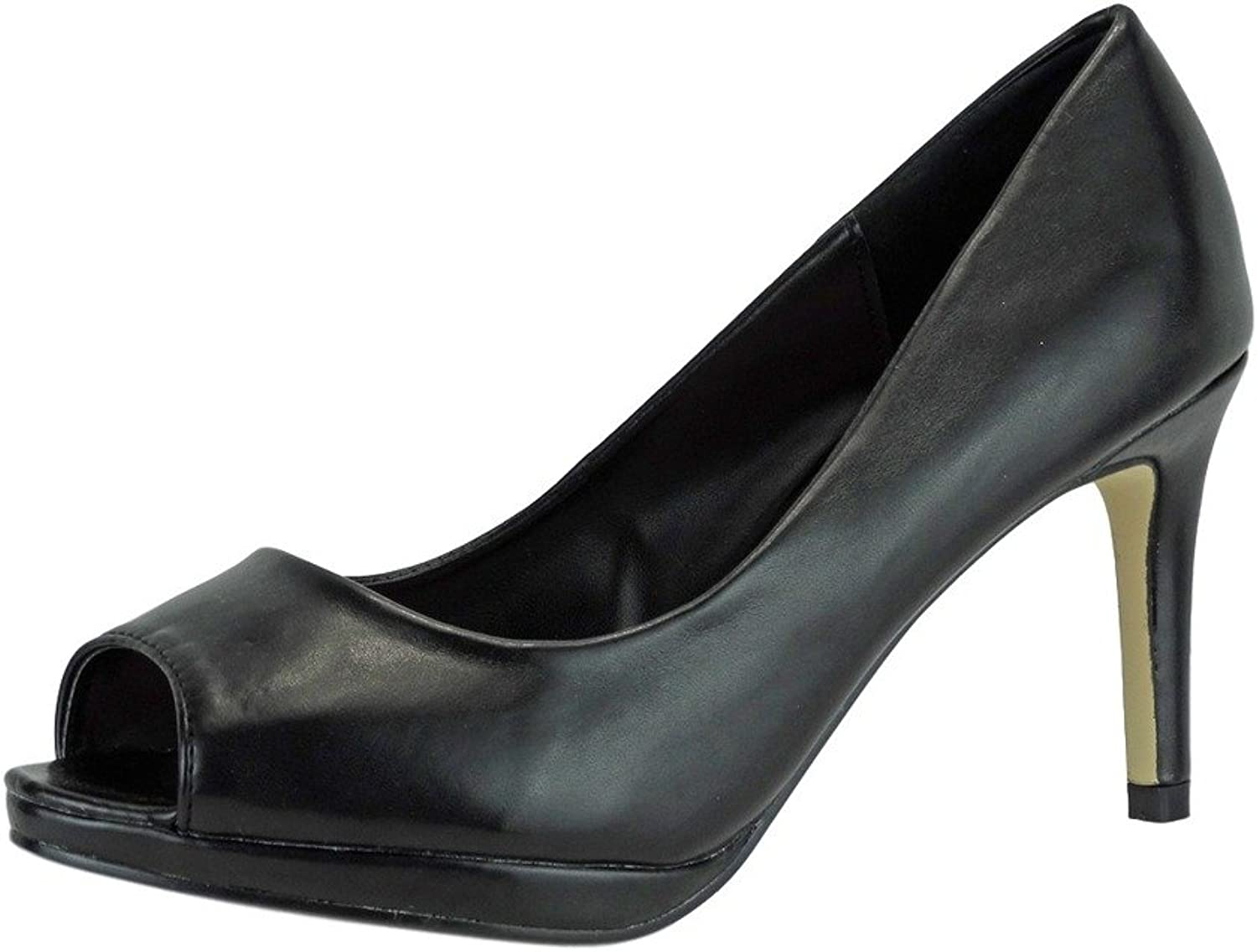 Pierre Dumas Women's Talia-1 Vegan Leather Peep-Toe High Heel Stiletto Dress Pumps
