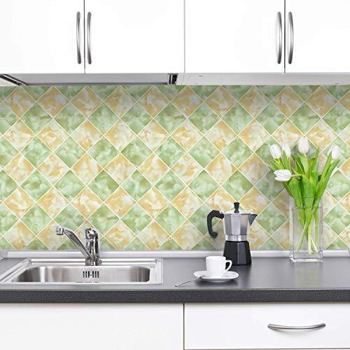 iKINLO Küchenrückwand Folie selbstklebend Fliesen Klebefolie Glanz PVC Tile Style Tapete Fliesenaufkleber für Küchen Bädern Wand Dekorfolie 0.61 * 5M