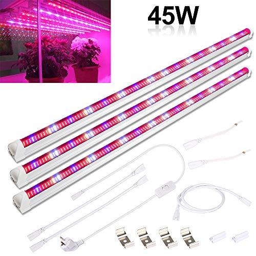 Derlights - Lampada per piante, 45 W, 90 cm, spettro completo [3 pezzi], 448 LED
