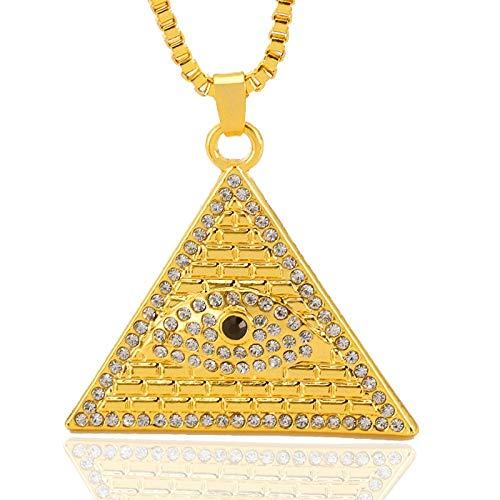DADATU Halsketten für Herren Hip Hop Bling Ied Out Gold Farbe Dreieck Ägypten Pyramide Anhänger Halsketten Illuminati Auge Männer Rock Schmuck Mit 60cm Box Kette
