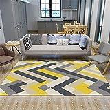 alfombras Salon Amarillo Alfombra de Sala de Estar Gris Amarillo Rayas patrón Alfombra Suave antiácaros alfombras para Salon 120X160CM Alfombra habitacion Bebe 3ft 11.2''X5ft 3''