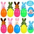 JIALWEN Easter Eggs Filled with Plush Bunny - Easter Basket Stuffers, Surprise Easter Gifts and Easter Egg Hunt Party Favor for Kids?10 Pack?