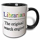 3dRose Librarian The Original Search Engine Mug, 11 oz, Black