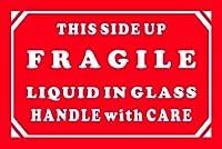 Aviditi Tape Logic 2インチ x 3インチ 「Fragile _ Liquid in Glass _ Handle with Care」赤/白 警告ステッカー 出荷 処理 梱包 引越用 (ラベル500枚1ロール)