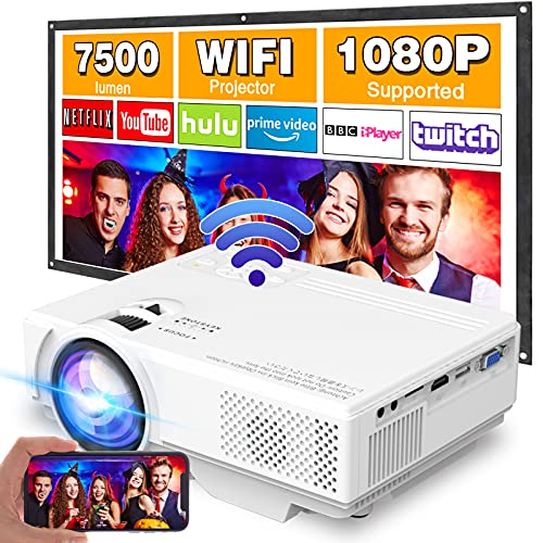"""Projector with WiFi, Upgrade 7500L [100"""" Projector Screen Included] Mini Projector for Outdoor Movies, Supports 1080P Synchronize Smartphone Screen by WiFi/USB Cable for Home Entertainment"""