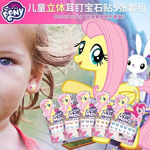 BLOUR 1pcs / Lot My Little Pony 2019 Nuove Ragazze Sticker Stereo Orecchini Gemma Diamante Acrilico Adesivo Frozenprincess per BambiniGiocattoli