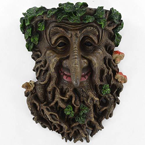 Grande plaque murale de jardin motif visage Treant. Plaque murale de jardin décorative avec un motif d'homme feuillu. 24 cm.