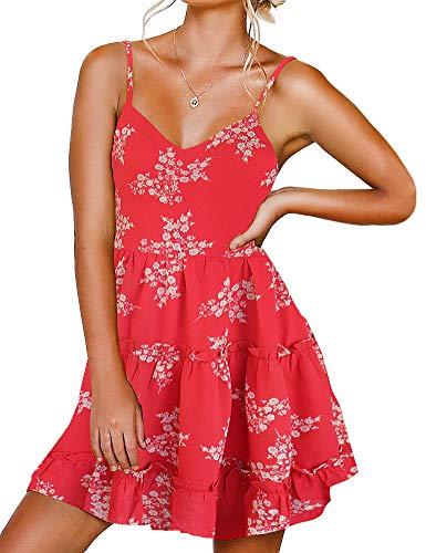 FANCYINN Damen Kleider mit V-Ausschnitt und Spaghettiträger Rückenfreies ärmelloses Blumenkleid Rüschen Loose Swing Freizeitkleid Weißer...