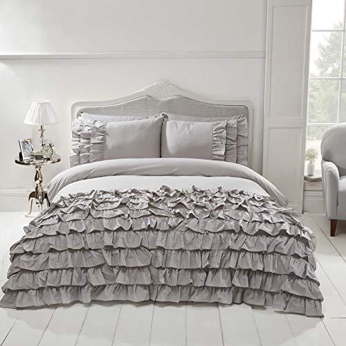 NCS Flamenco Embellished Ruffles Frilly Frills Duvet Bedding Quilt Cover Set (Grey Silver, Single)