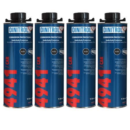 Rejel Dinitrol 4941 Unterbodenwachs 4 x 1 Liter Dosen (mit Schutz-Schraubverschluss) Schwarz