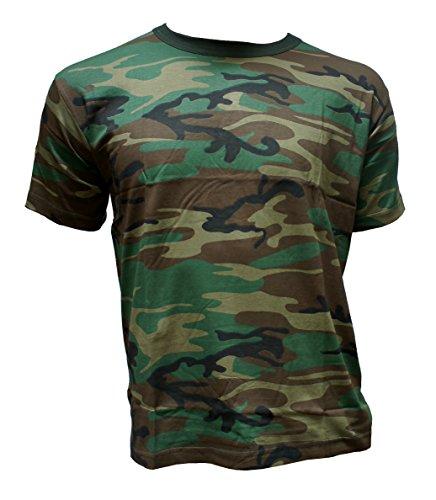 Herren T-Shirt Camouflage kurz Outdoor Tarnmuster Rundhals Baumwolle Woodland Army, Grün, L