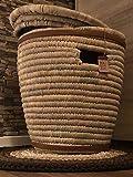 Maison Zoe Cesta de Palma Grande con Tapa - Cinturón de Piel en el Borde - 100% Hecho a Mano - ecológico y sostenible - Canasta de lavandería - Cesta Tejida