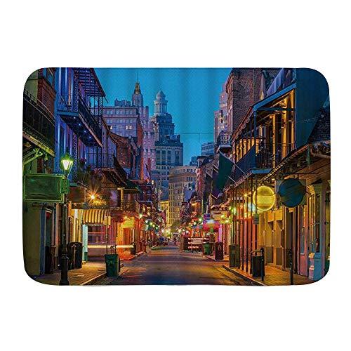 BCVHGD Badematte Bad Teppiche, Pubs und Bars mit Neonlichtern im French Quarter New Orleans USA,mit Rutschfester Rückseite, 29,5