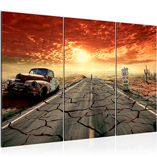 Runa Art Voiture Route 66 Peinture Tableau Salon XXL Beige Orange Automobile de Collection 120 x 80 cm 3 Parties Decoracion Murale 600331a